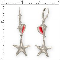 Sterling Silver Enamel Conch Shell and Starfish earrings