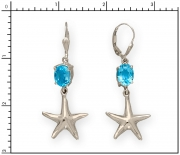 Sterling Silver Starfish Earrings with Blue Topaz