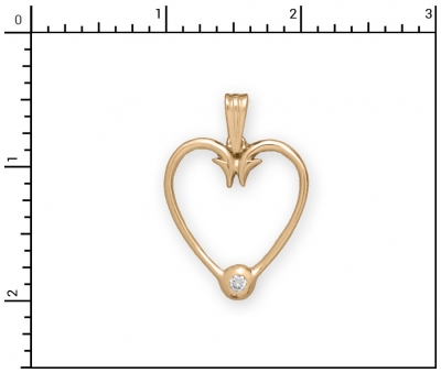 14Kt Diamond Heart Hook, D=.10