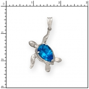 Sterling Silver Turtle Charm with Topaz Stone