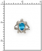 Sterling Silver Turtle Ring with Topaz Stone
