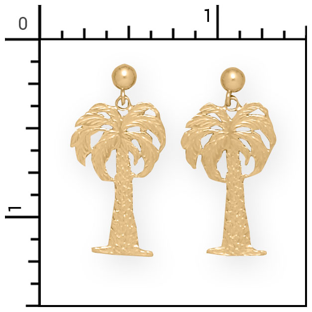 Nautical jewelry 14kt palm tree earrings beach 2 emsc072 for Palm beach jewelry catalog request