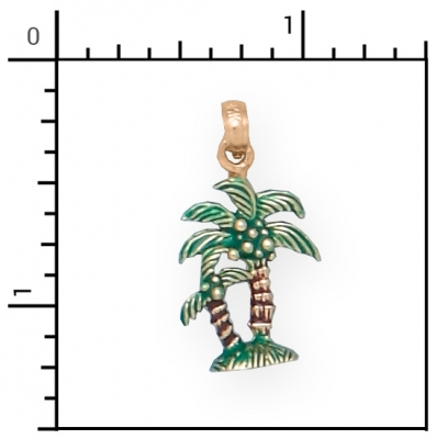 Nautical jewelry 14kt 3d enamel double palm trees beach for Palm beach jewelry catalog request