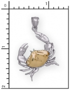 Sterling Silver Crab with 14Kt. Shell