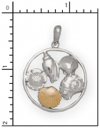 14Kt./Sterling Silver Shell Collage Charm
