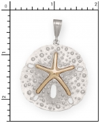 Sterling Silver Sand Dollar  with 14Kt. Starfish.