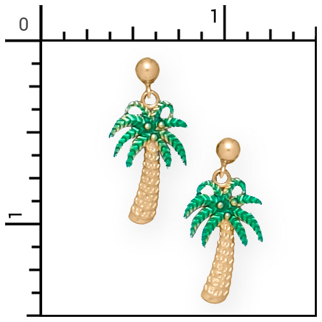 Nautical jewelry 14kt green palm tree earrings beach 4 for Palm beach jewelry catalog request