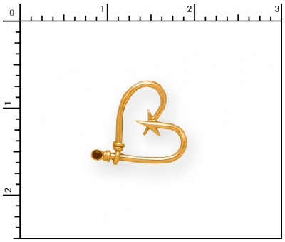 14Kt Heart Hook Pendant with Sapphire
