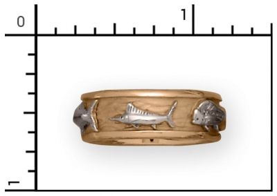 14Kt Men's, 8mm, 5 Fish Band.